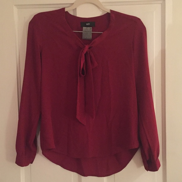 Mossimo Supply Co. Tops - Mossimo Red Long Sleeve Blouse with Tie Neck